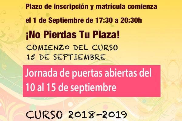 inscripción para el curso 2018-2019